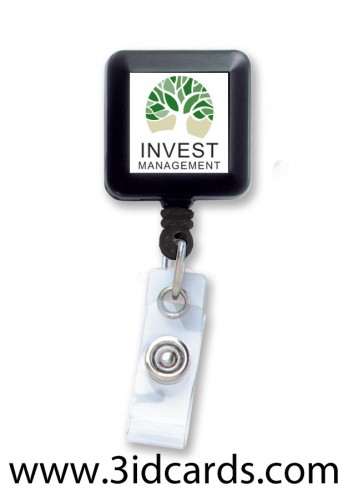 Square economy badge reel with flat label